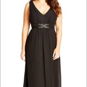 City Chic Black Sparkle Embellished Maxi  SzXS14